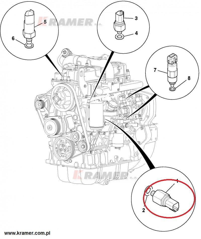 Czujnik ciśnienia oleju JCB 3CX 4CX DieselMax Kramer S.A