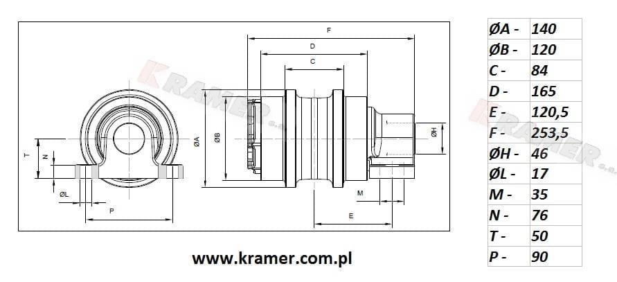 Rolka podtrzymująca HITACHI ZX160 ZX180 ZX210 Kramer S.A