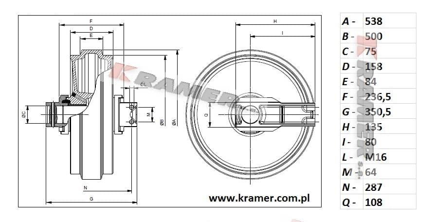 Koło napinające HITACHI EX165 EX200 EX215 EX220 Kramer S.A