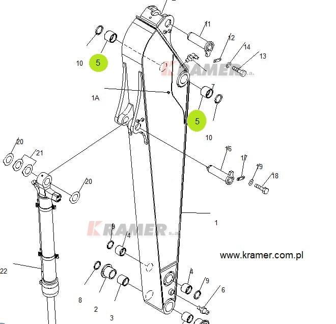 Tuleja wysięgu Komatsu PC200-7 PC228 PC270 Kramer S.A
