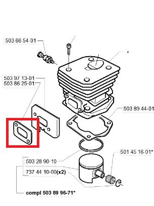 Uszczelka tłumika pilarki 340/353/350/345/346XP/351 Husqvarna