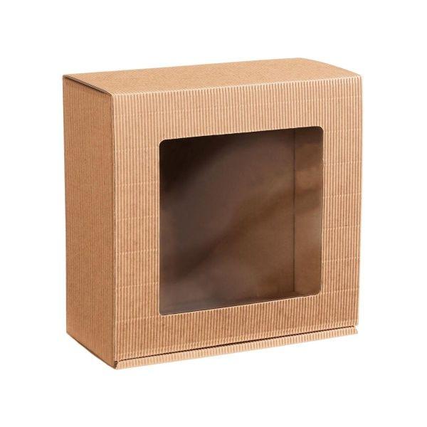Pudełko na prezenty naturalne ekologiczne z okienkiem