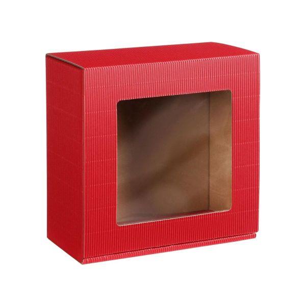 Pudełko prezentowe czerwone z okienkiem