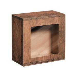 Pudełko prezentowe z motywem drewna i okienkiem