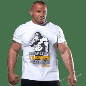 Biała koszulka Cierpliwy kamień ugotuje - przód