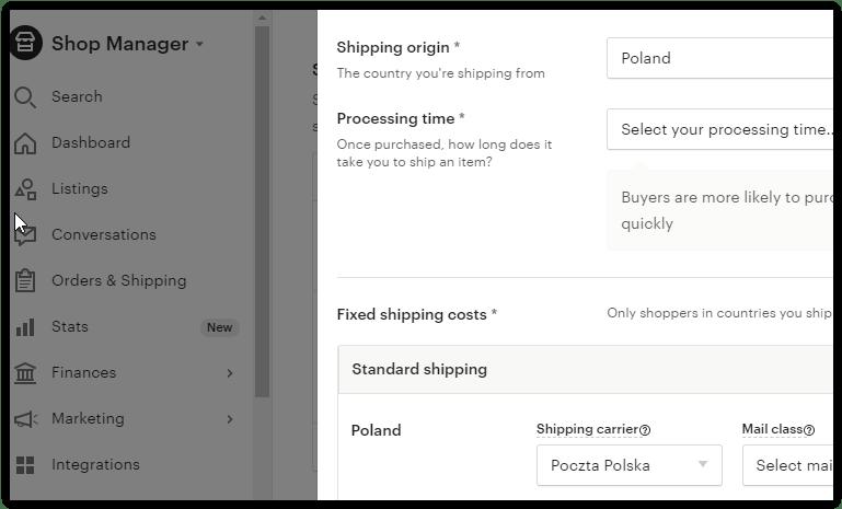 Wysyłka – Profile wysyłkowe na Etsy