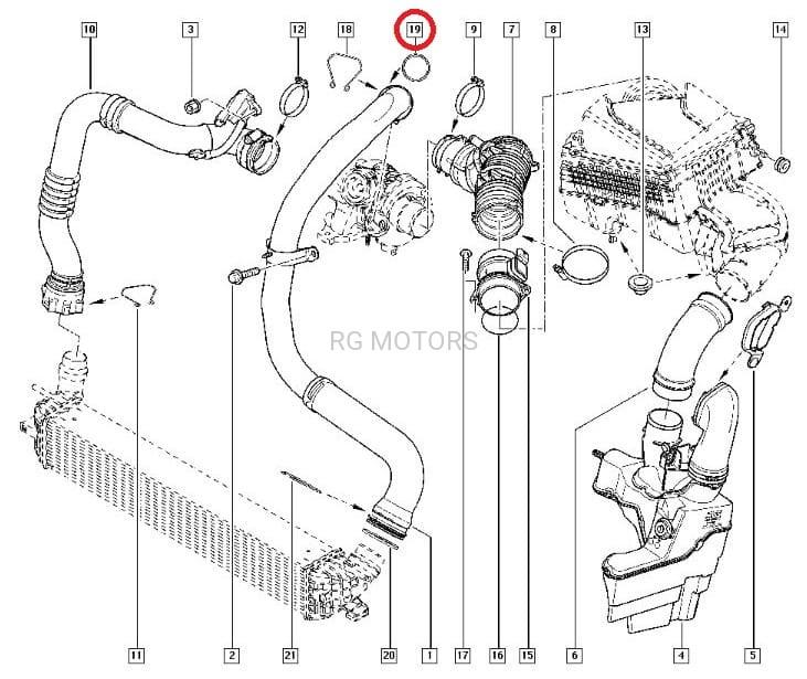 Uszczelka przewodu / rury turbosprężarki 2.0 dCi (M9R