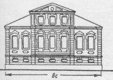Этот или схожий проект на 8 саженей и 7 оконных осей лёг в основу фасада дома Голландской конторы, сейчас по владельцу 1910-х известному как дом Масленникова. При реализации «образцовый» барочный декор 1737 г. заменён более актуальным в 1780-х раннеклассическим, соответственно, и прежняя окраска — терракота в один тон (по Лукомскому — «в стиле Людовика XVI »).