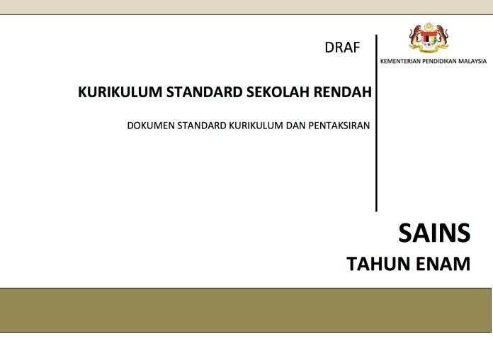 Dokumen Standard Kurikulum dan Pentaksiran (DSKP) Sains Tahun 6