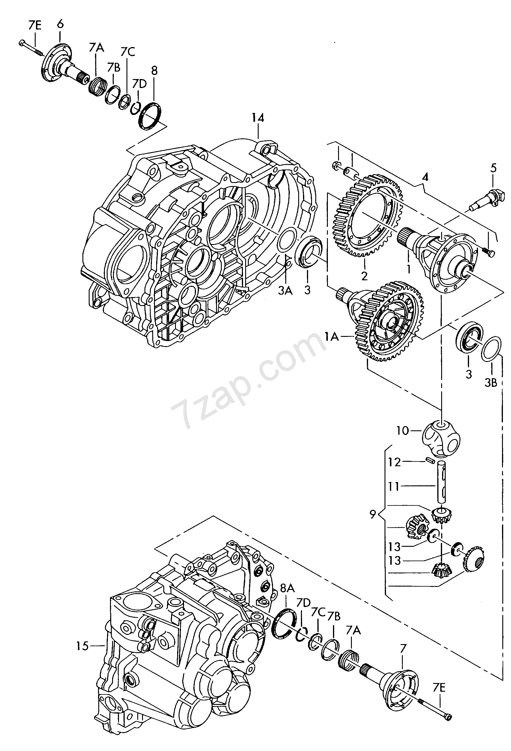 differential; output gear; 6-speed manual transmis