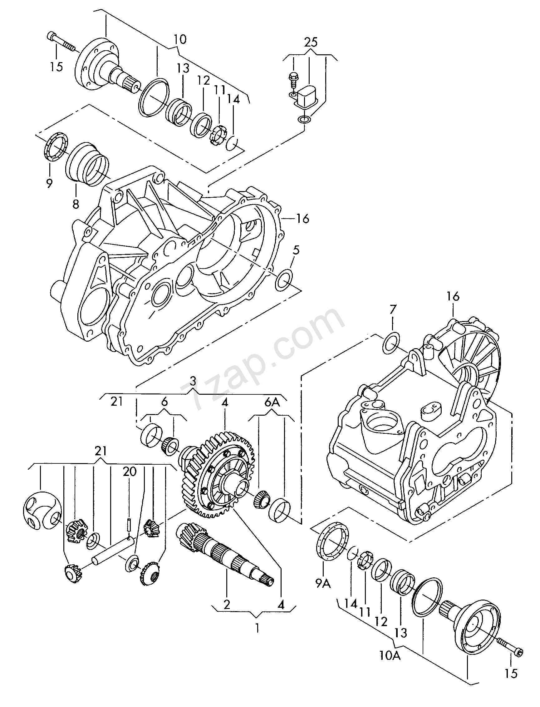 differential; pinion gear set; for 5 speed manual