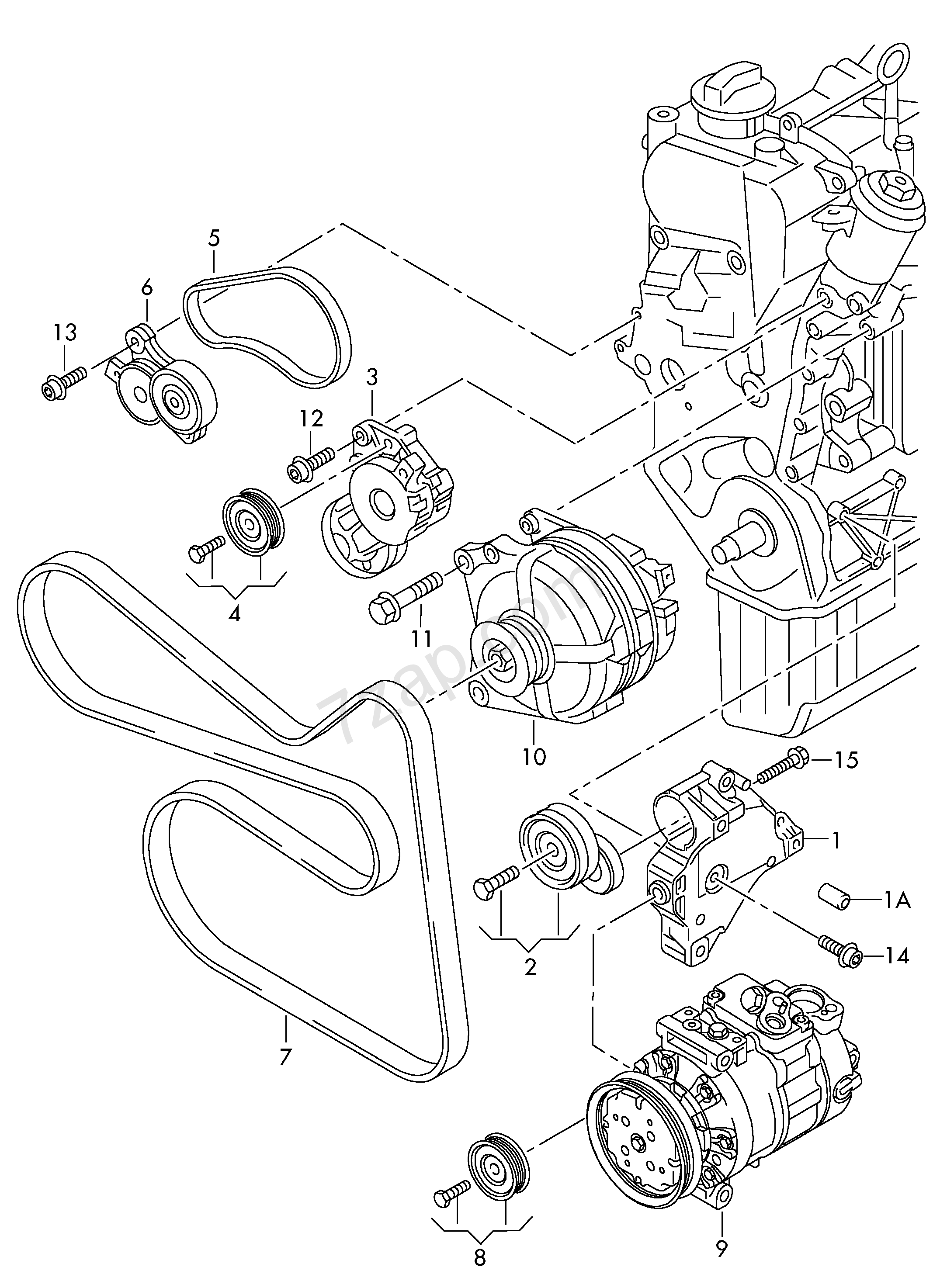 Connecting And Mounting Parts For Alternator Pol Fabia