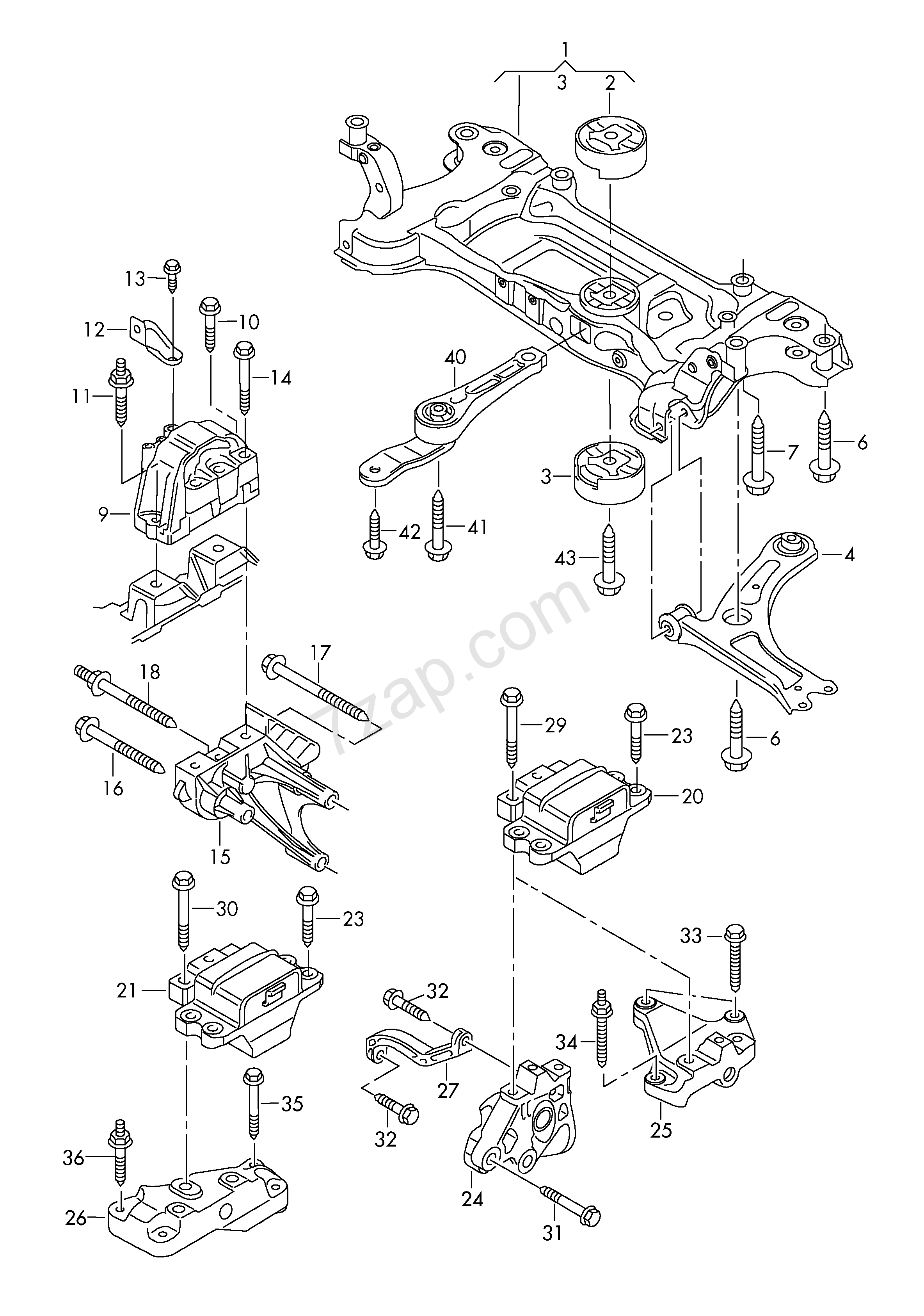 Mounting Parts For Engine And Transmission D