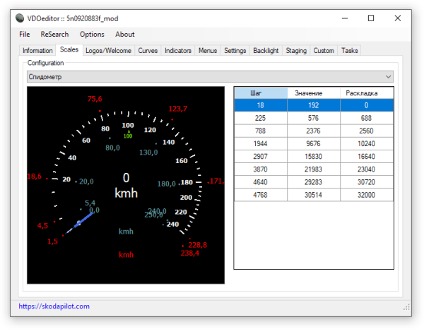VDOeditor2 Scale Configuration Tab (Speedometer)