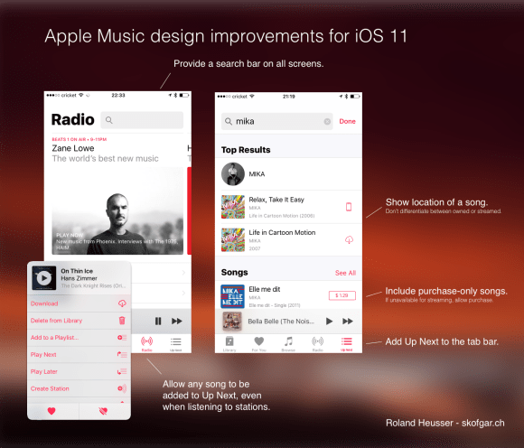 Design proposal for improvements of Apple Music in iOS 11
