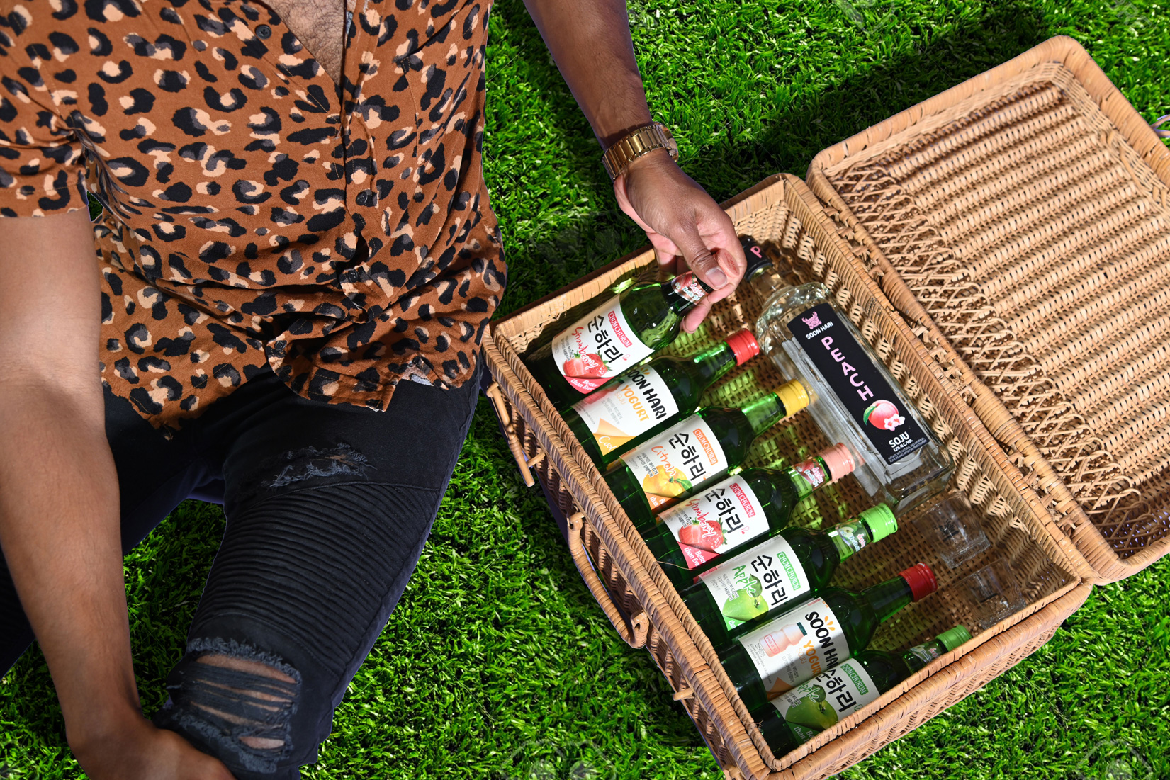 Picnic with Soonhari Soju Bottles All Flavors