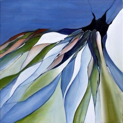 Abstrakt maleri af vinterens skift til forår hvor alt bliver anderledes og nyt igen