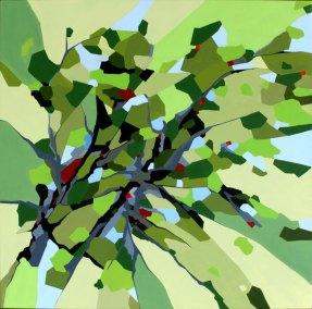Abstrakt maleri af skovens tag i naturens farver