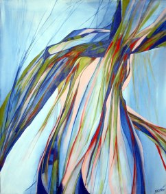 Abstrakt maleri af en vredet kvindekrop i et kast.