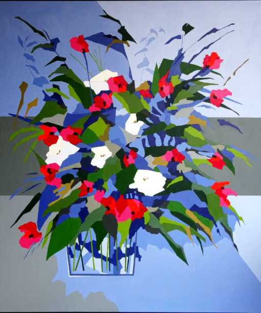 Abstrakt maleri af blomsterbuket