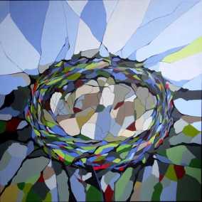 Abstrakt maleri af lærkerede