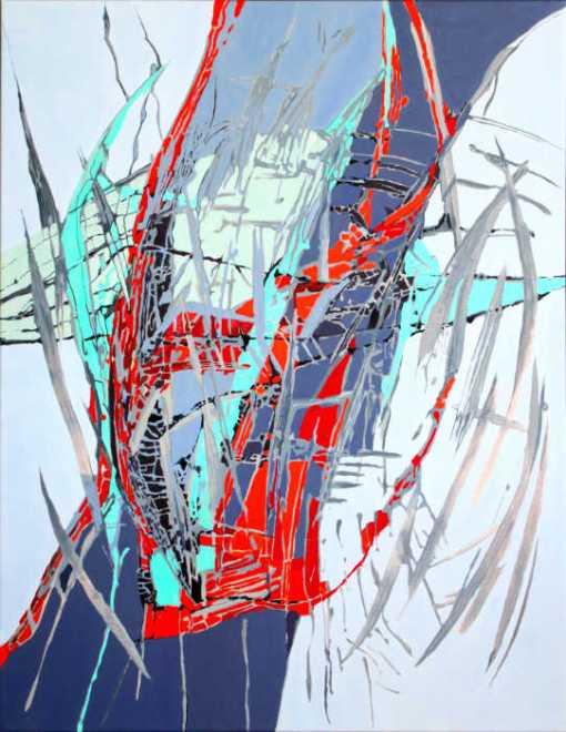 Abstrakt maleri af dragelignende væsen