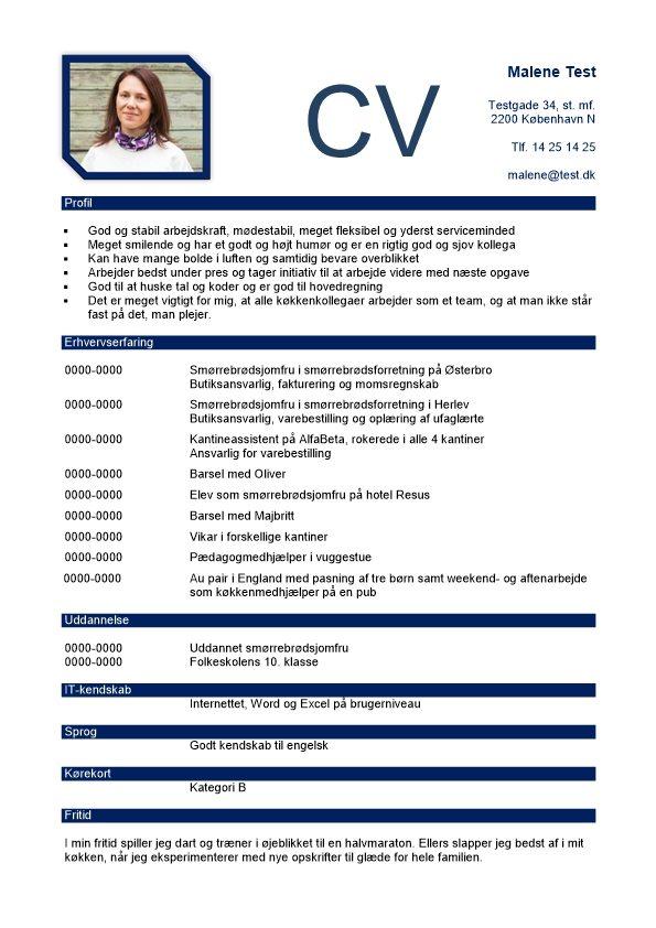 Kronologisk CV med profil og billede  Skrivansgning