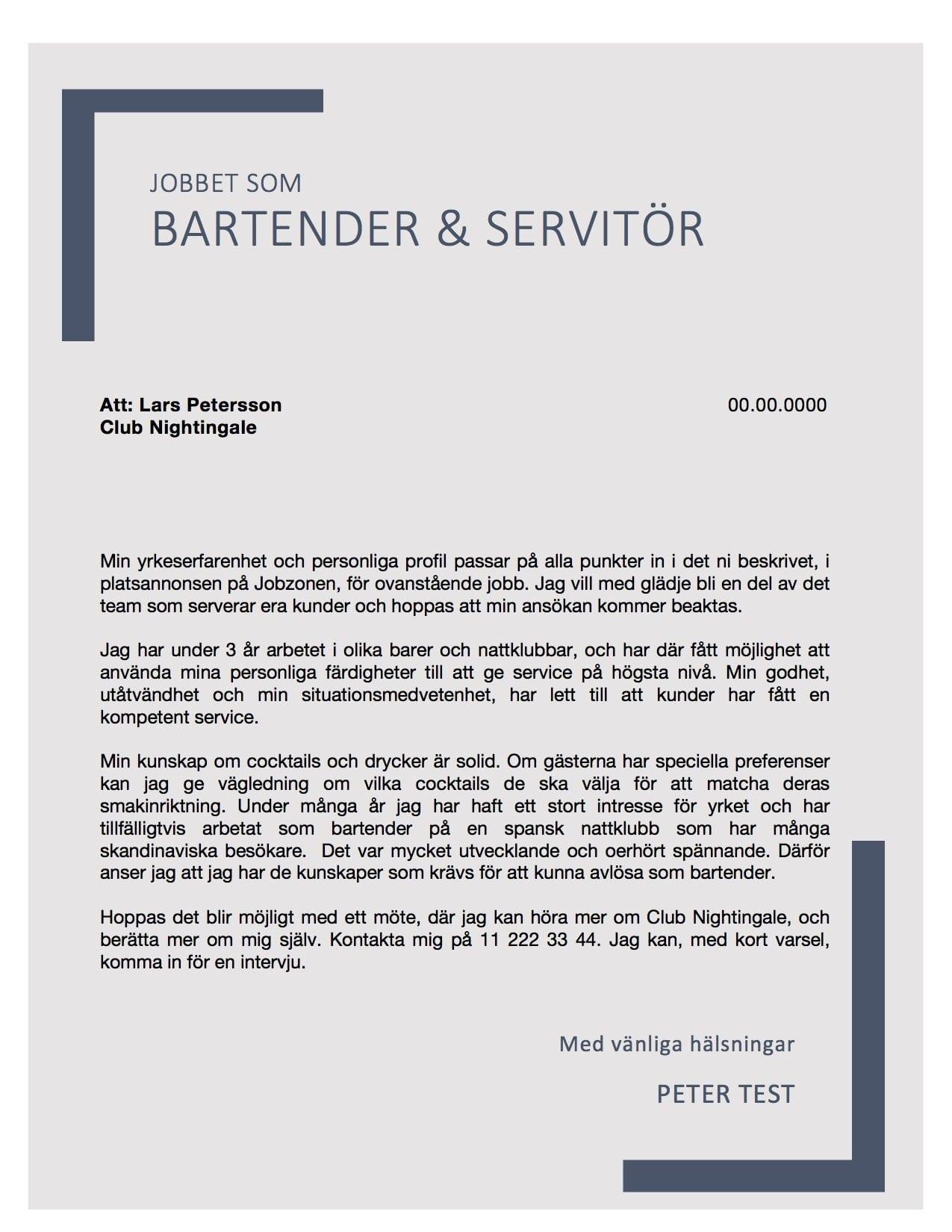 Bartender Servitr Skriv Anskan