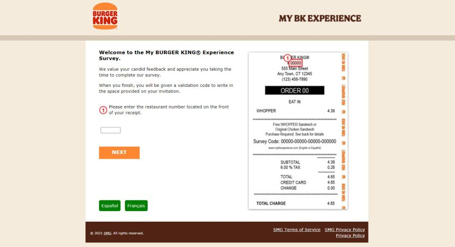 Mybkexperience - Get a Free whopper - Burger King Survey