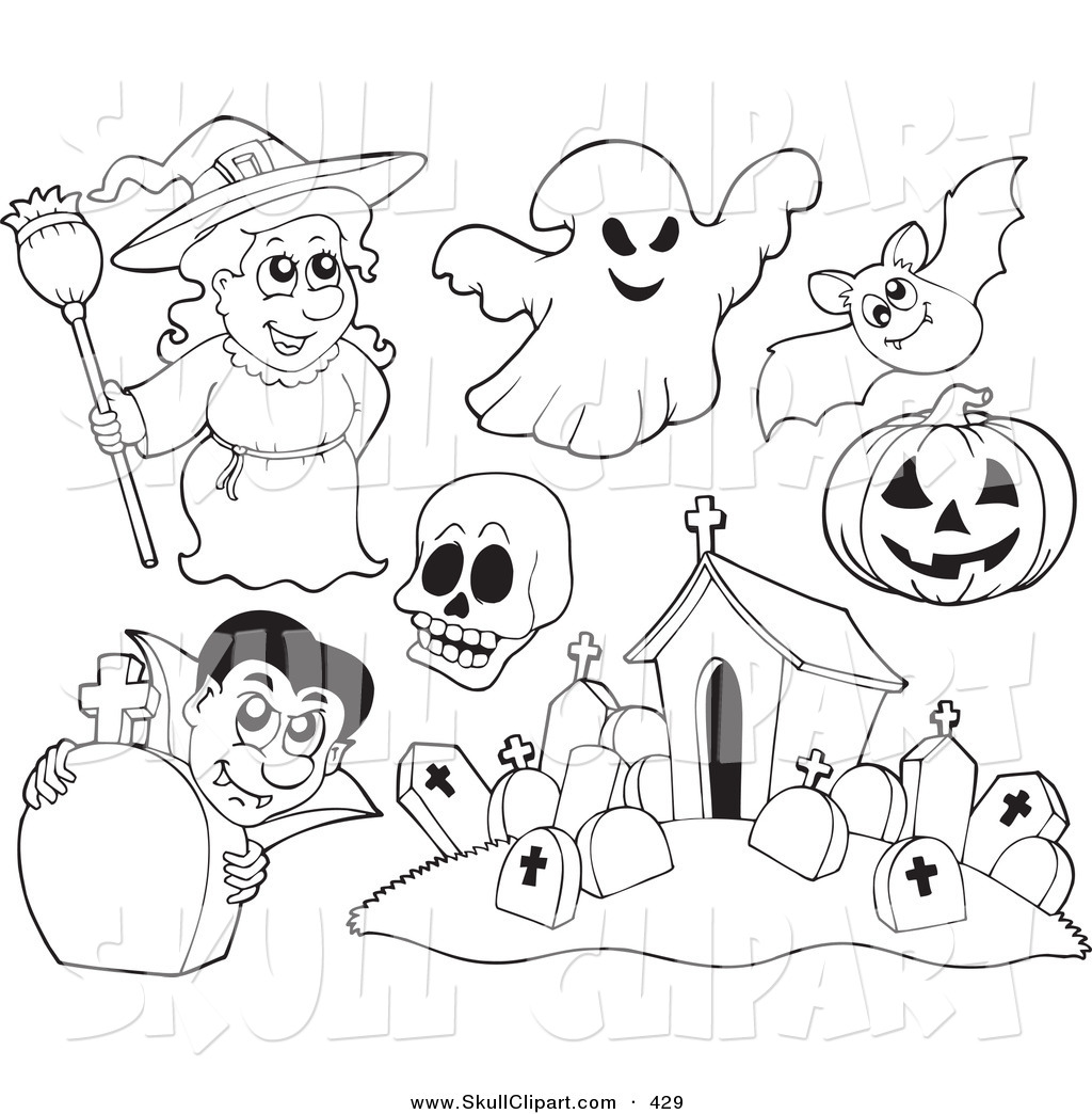 Vector Clip Art Of A Digital Set Of Halloween Coloring Page Outlines Of A Witch Ghost Skull