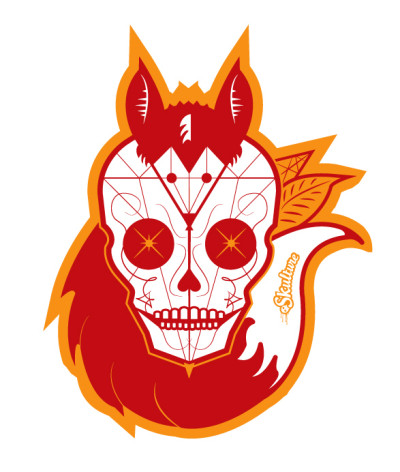 Skull and fox sticker design