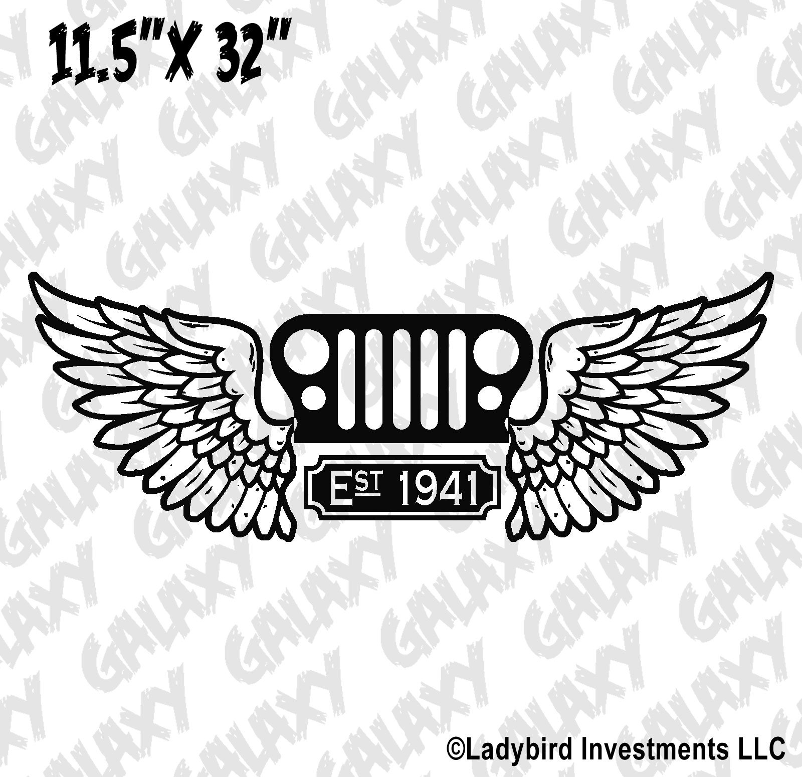 Jeep Wrangler Hood Decal Grill & Wings Est. 1941 Sticker