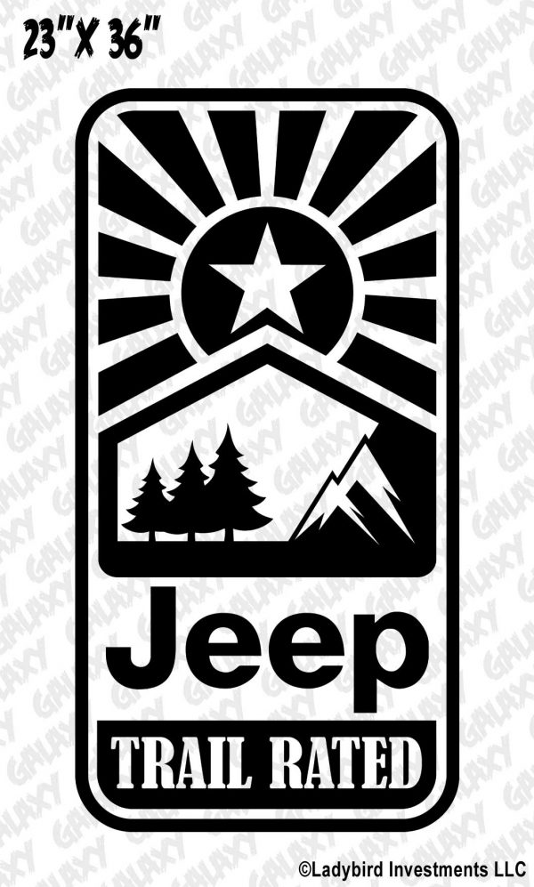 Jeep Wrangler Hood Decal Trail Rated Off Road Star Sticker
