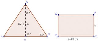 Triangolo Equilatero E Rettangolo Con Uguale Perimetro