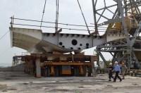 Transport prvog celicnog segmenta za Most Ciovo izgradenog u Brodosplitu (4)
