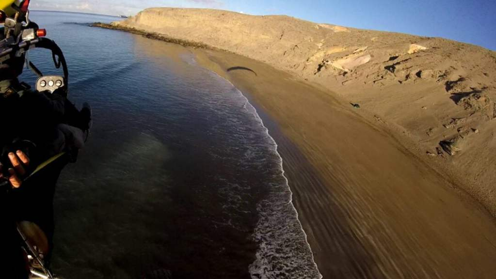 powered paraglindg over wild beaches in South Gran Canaria