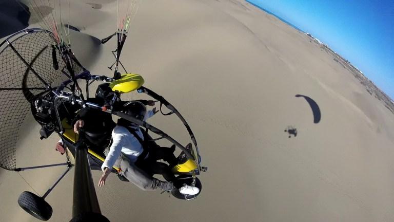 paratrike, powerd paragliding over Maspalomas Dunes in Gran Canaria