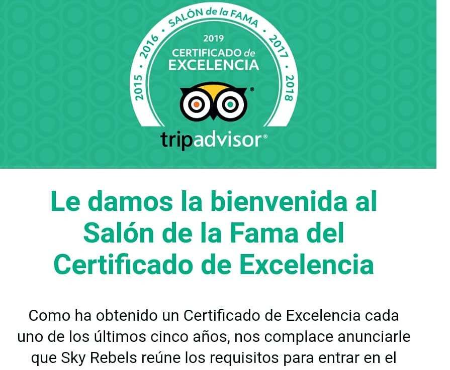 Sky Rebels TripAdvisor Hall of Fame