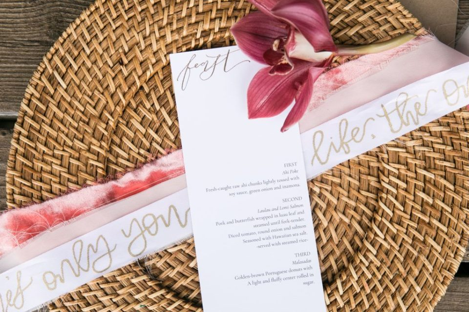 tropical calligraphy menu wedding