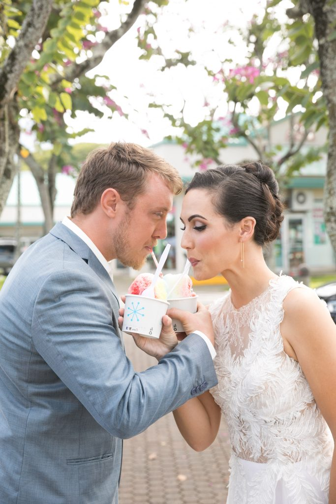 couple share shave ice