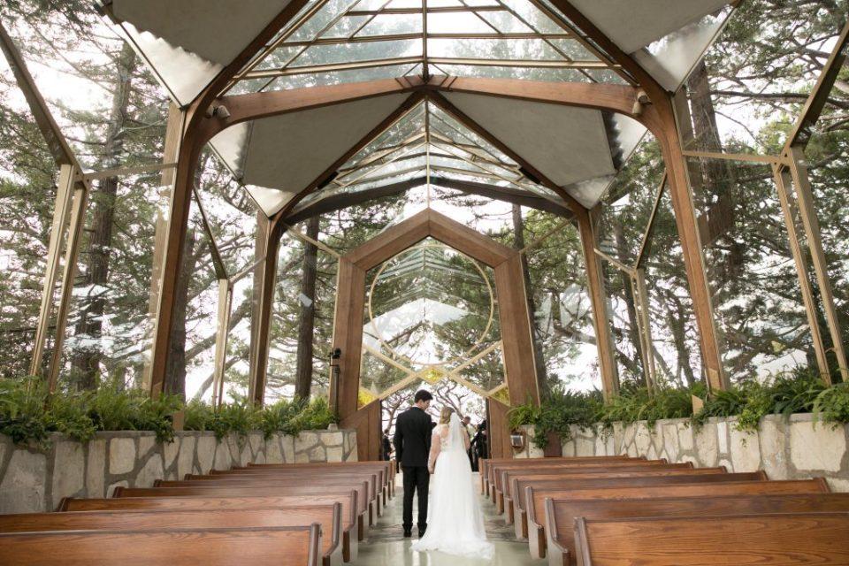 bride and groom exit wayfarers chapel palos verdes