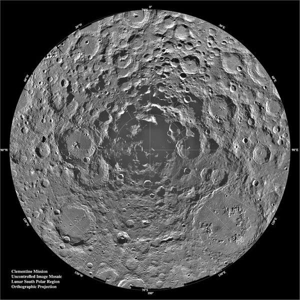क्लेमेंटाइन द्वारा चंद्र दक्षिण ध्रुव