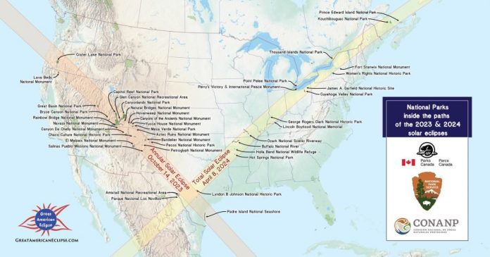 a map showing the eclipse lines for 2023 and 2024 intersecting at texas