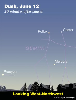 Mercury under Pollux and Castor at dusk, June 12, 2020