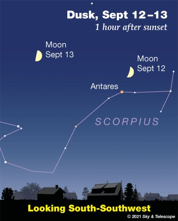 Moon over Antares and Scorpius, Sept. 12-13, 2021