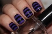 black and purple stripes nails