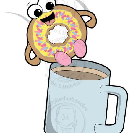 donuts and coffee, donut cartoon,