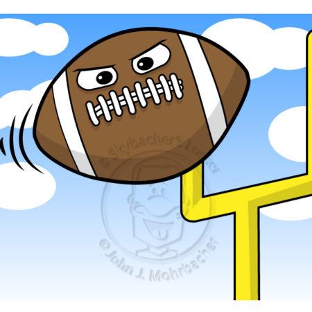 football cartoon, flying football, field goal cartoon