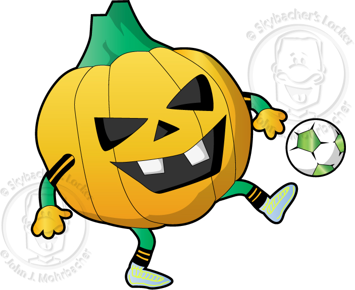 Soccer Pumpkin Cartoon