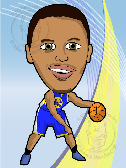 Steph Curry Cartoon Vector - Golden State